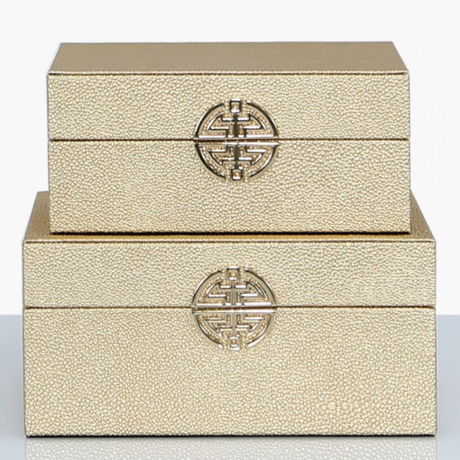 Set of 2 Gold Faux Stingray Leather Jewellery Storage Makeup Boxes