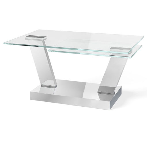 Aria Tempered Glass And Polished Stainless Extending Coffee Table
