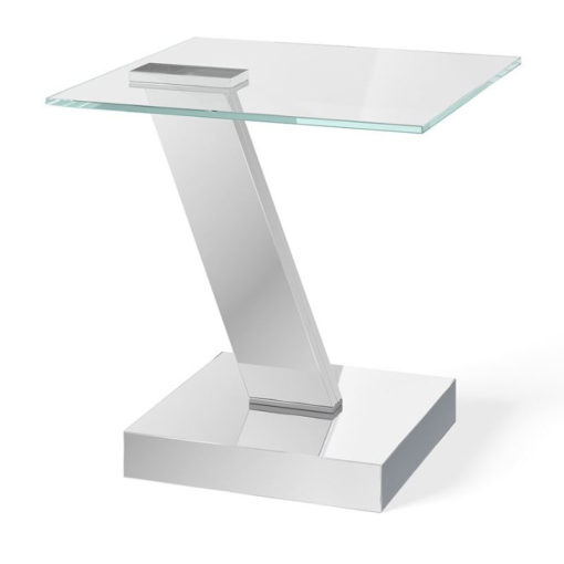 Aria Tempered Glass And Polished Stainless Side End Table
