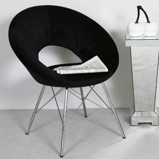 Black Deeply Padded Chrome And Velvet Orb Chair Armchair