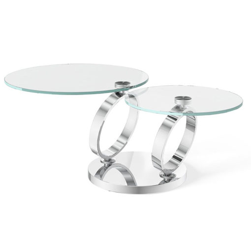 Eloise Tempered Glass And Polished Stainless Extending Coffee Table