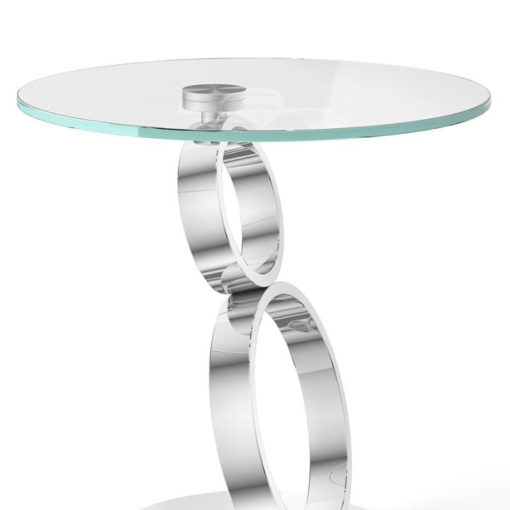 Eloise Tempered Glass And Polished Stainless Side End Table