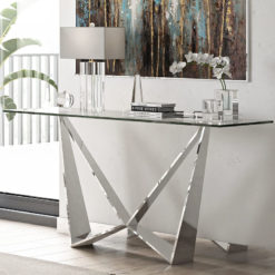 Grace Tempered Glass And Polished Stainless Steel Console Table