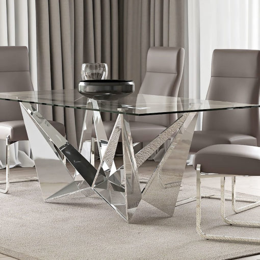 Grace Tempered Glass And Polished Stainless Steel Dining Table 200cm
