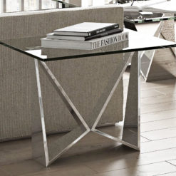Grace Tempered Glass And Polished Stainless Steel End Table Side Table
