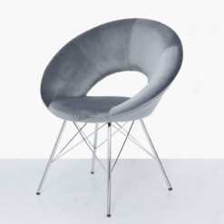 Grey Deeply Padded Chrome And Velvet Orb Chair Armchair