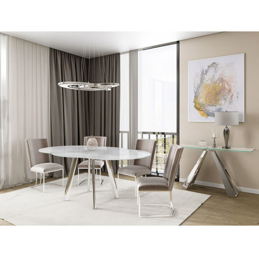 Jolie Tempered Glass And Stainless Steel Swivel Extending Dining Table