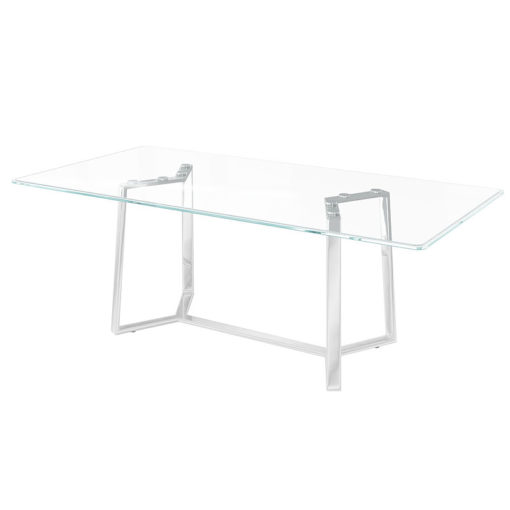 Katherine Tempered Glass And Stainless Steel Dining Table 160cm
