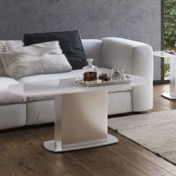 Louisa Tempered Glass And Stainless Steel White Coffee Lounge Table