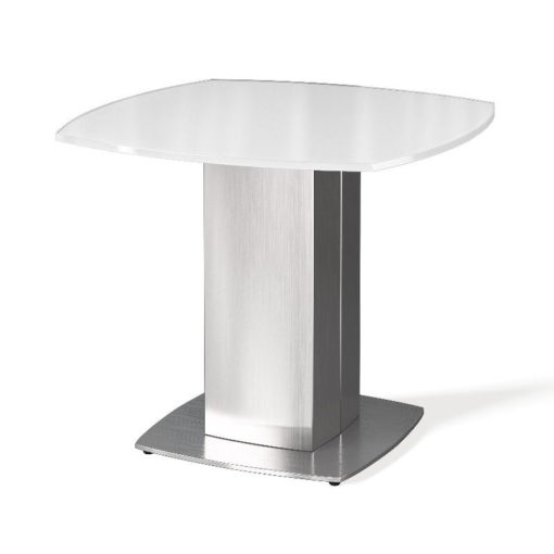 Louisa Tempered Glass And Stainless Steel White End Side Table