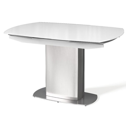 Louisa Tempered Glass And Stainless Steel White Extending Dining Table