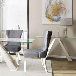 Odette Tempered Glass And Polished Stainless Steel Console Table