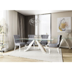Odette Tempered Glass And Polished Stainless Steel Dining Table 180cm
