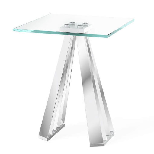 Odette Tempered Glass And Polished Stainless Steel Side End Table