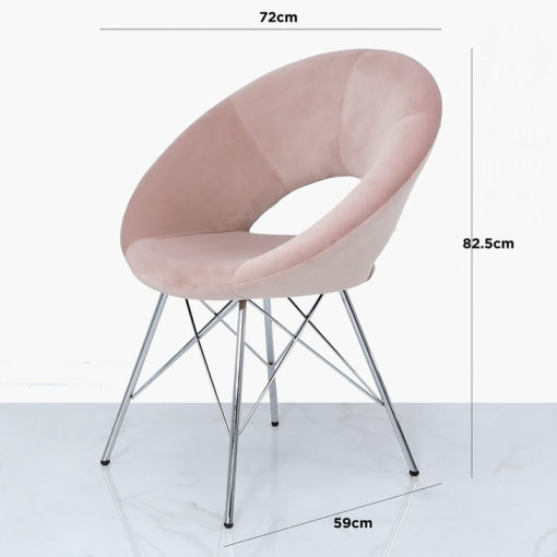 Pink Deeply Padded Chrome And Velvet Orb Chair Armchair