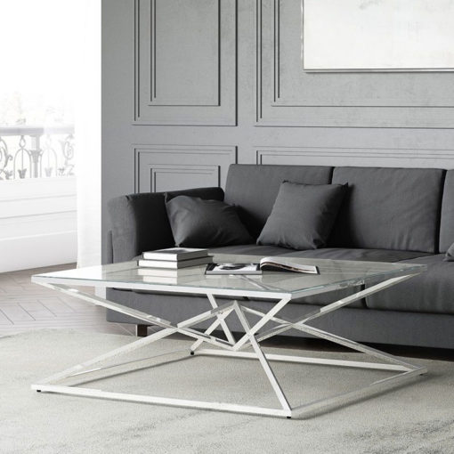 Prismatic Tempered Glass And Polished Stainless Coffee Lounge Table