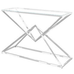 Prismatic Tempered Glass And Polished Stainless Console Hallway Table