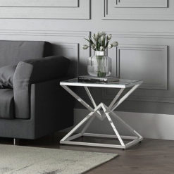 Prismatic Tempered Glass And Polished Stainless Side End Table