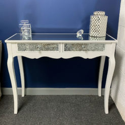 2 Drawer White Mirrored Mosaic Glass Console Dressing Hall Table