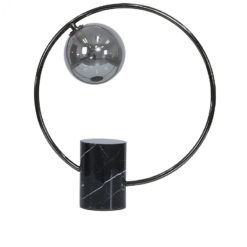 Black Marble Round Table Lamp With Smoked Glass Shade