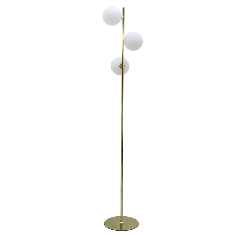 Gold Floor Lamp With 3 White Glass Shades 160cm Picture Perfect Home