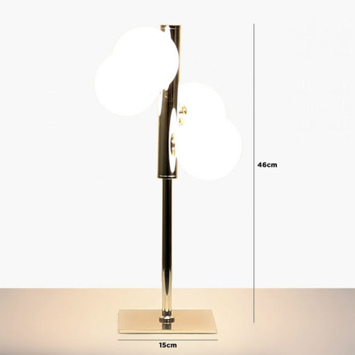 Gold Table Lamp With 4 White Glass Shades 46cm