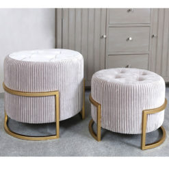 Set of 2 Soft Pink Velvet And Gold Metal Tufted Stools