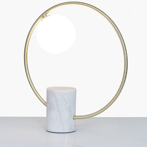 White Marble And Gold Metal Round Table Lamp With White Glass Shade