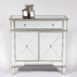 Canterbury Silver 1 Drawer 2 Door Mirrored Venetian Cupboard Sideboard