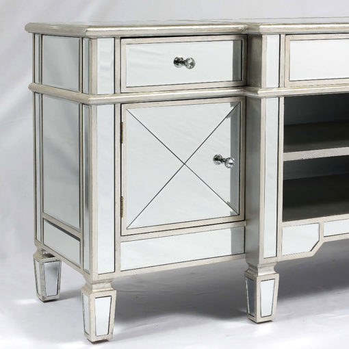 Canterbury Silver Mirrored Venetian Media Entertainment Unit TV Stand