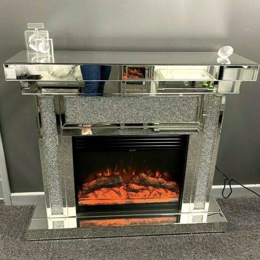Diamond Crush Sparkly Mirrored Electric Fireplace with Remote