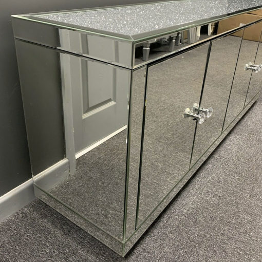 Large Mirrored Glass Diamond Glitter Top 4 Door Sideboard Cupboard