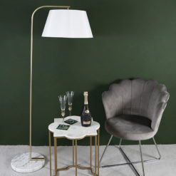 Arc Gold Metal Floor Lamp With A White Shade And A Marble Base 163cm