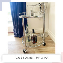 Bailey Chrome Metal and Clear Glass Drinks Trolley