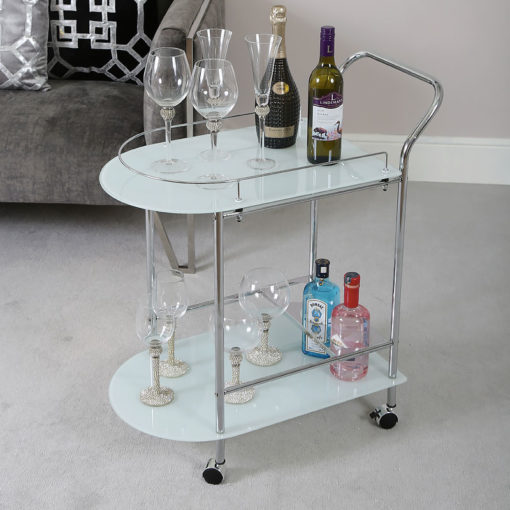 Bailey Chrome Metal and White Glass Drinks Trolley