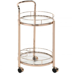 Bailey Rose Gold Metal and Clear Glass Drinks Trolley