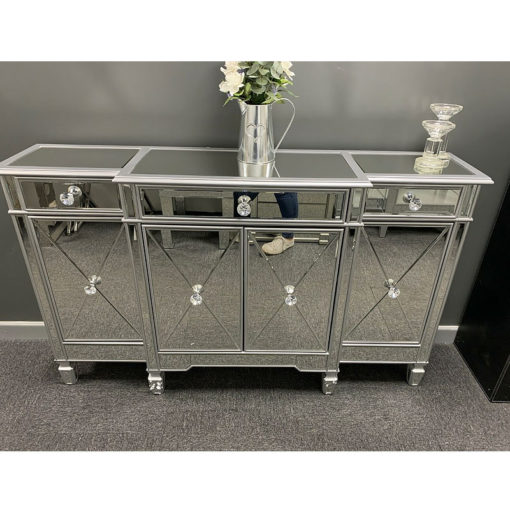 Berkeley Silver Mirrored 3 Drawer 4 Door Sideboard Cabinet Cupboard
