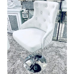 Camilla Silver Velvet And Chrome Bar Stool With A Lion Ring Knocker