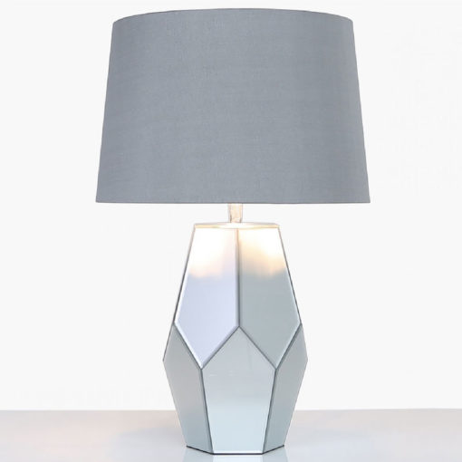 Grey Mirror Table Lamp With Silver Shade