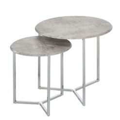 Nest Of 2 End Side Tables With Chrome Frames And Cement Print Tops