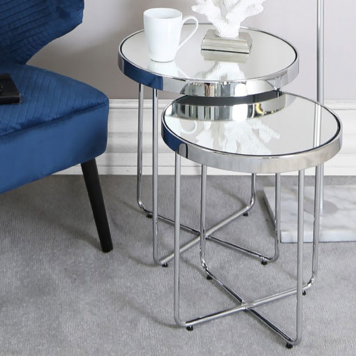 Nest Of 2 End Side Tables With Chrome Frames And Mirrored Tops