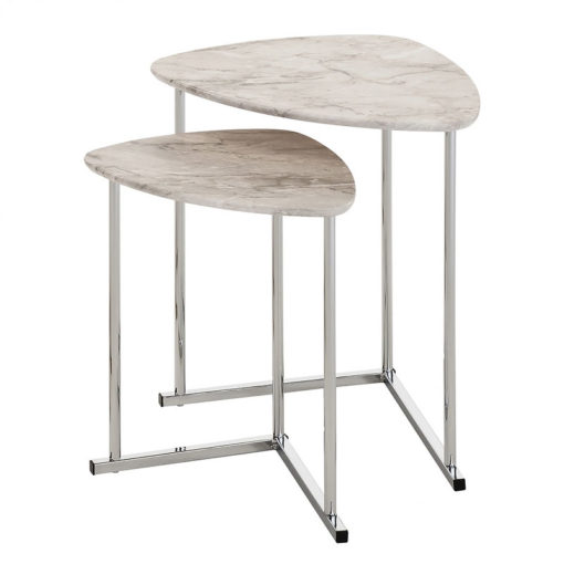 Nest Of 2 End Side Tables With Chrome Frames And White Marble Effect Tops