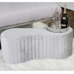Silver Fabric Deeply Padded Tufted Bench Ottoman