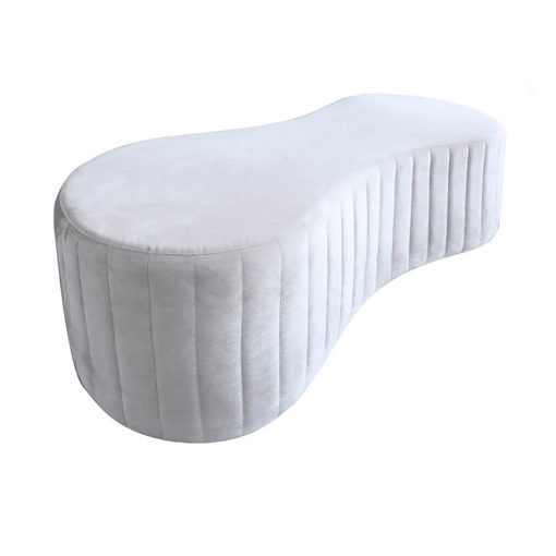 Silver Grey Velvet Deeply Padded Tufted Bench Ottoman