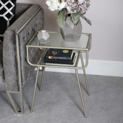 Silver Metal And Glass Contemporary End Side Table Bedside Table