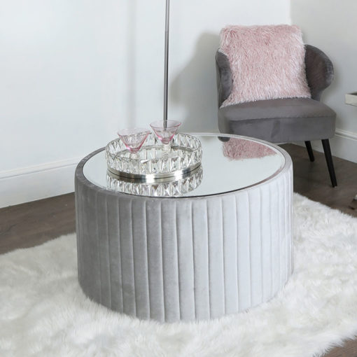 Silver Velvet Coffee Table With Mirrored Top