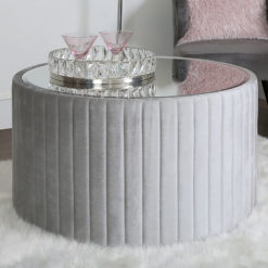 Silver Tufted Coffee Table With Mirrored Top