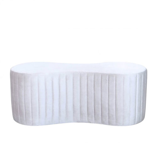 Soft Pink Fabric Deeply Padded Tufted Bench Ottoman