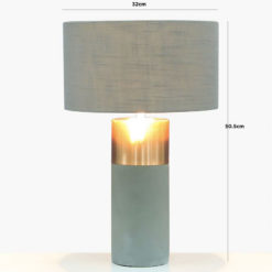 Table Lamp With A Grey And Copper Base And A Grey Linen Shade 50cm