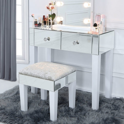 Victoria Crushed Velvet Mirrored Dressing Stool With White Gloss Legs